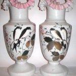 Vaze sticla opalina pereche - randunici
